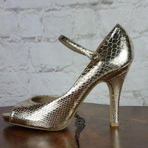 Steve Madden gold snakeskin heels size 9